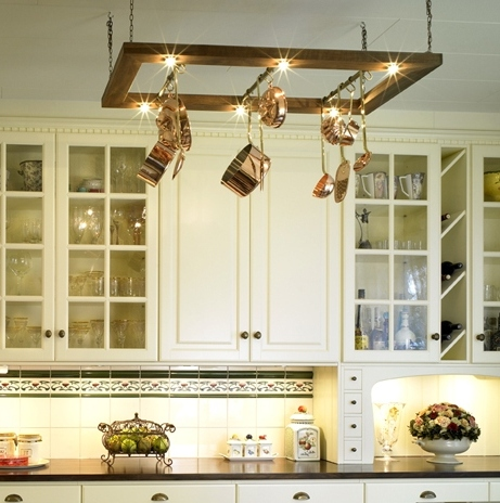 pot rack kitchen lights