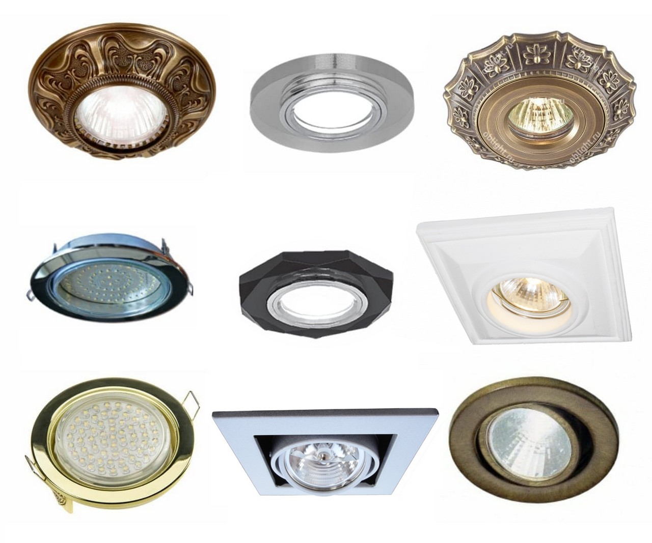 different trim styles of recessed lights