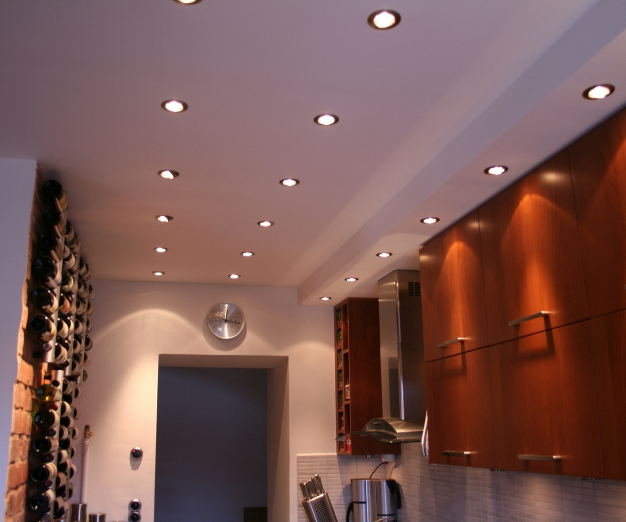 recessed lights with colored trims
