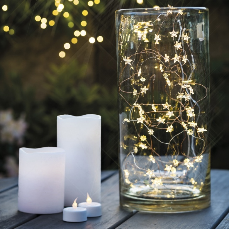 battery-powered led candles and garland