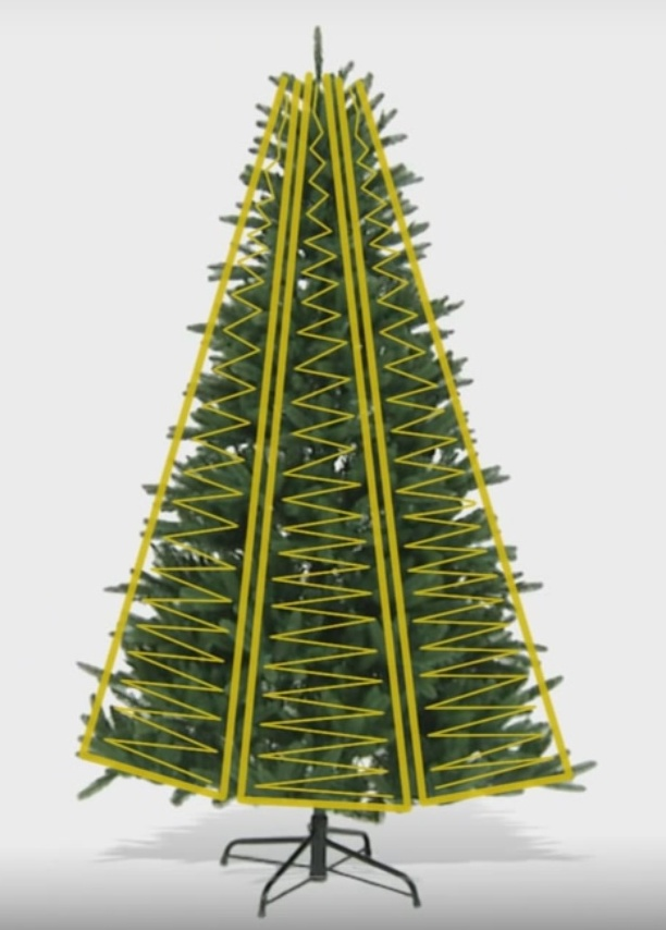weaving christmas tree with lights